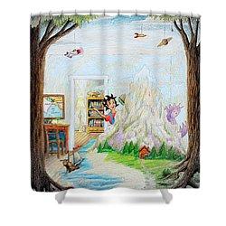 Beginning A Book Shower Curtain by Matt Konar