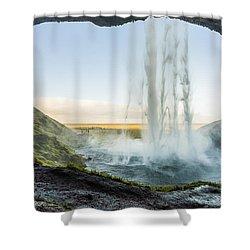 Behind Seljalandsfoss Shower Curtain