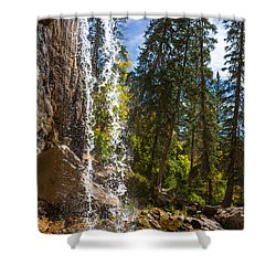 Behind Spouting Rock Waterfall - Hanging Lake - Glenwood Canyon Colorado Shower Curtain by Brian Harig