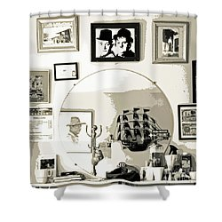 Shower Curtain featuring the photograph Behind The Barber Chair by Joe Jake Pratt