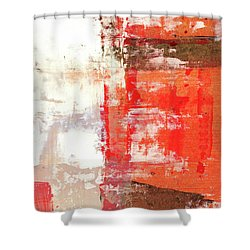 Behind The Corner - Warm Linear Abstract Painting Shower Curtain