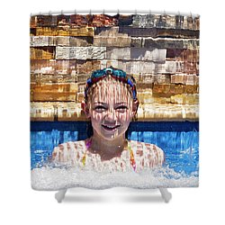 Shower Curtain featuring the photograph Behind The Falls by Linda Lees