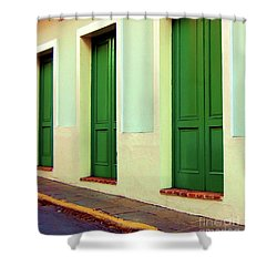 Behind The Green Doors Shower Curtain by Debbi Granruth