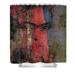Shower Curtain featuring the painting Behind The Painted Smile by Paul Lovering