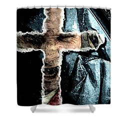 Shower Curtain featuring the mixed media Behind The Thin Veil Of The Cross by Reed Novotny