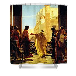 Shower Curtain featuring the painting Behold The Man by Celestial Images