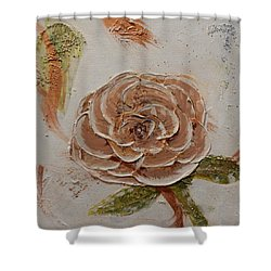 Beige Rose Shower Curtain by Betty-Anne McDonald
