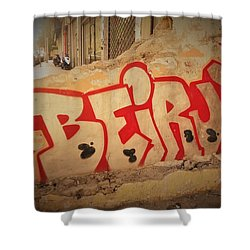 Beirut On A Graffiti Wall Shower Curtain by Funkpix Photo Hunter