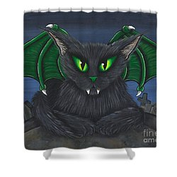 Bela Vampire Cat Shower Curtain