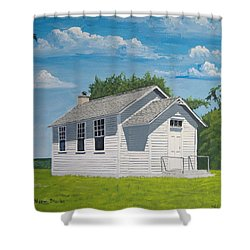 Shower Curtain featuring the painting Belding School by Norm Starks