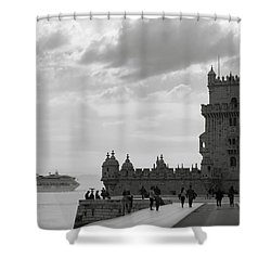 Belem And The Boat Shower Curtain by Lorraine Devon Wilke