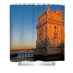 Belem Tower And The Moon Shower Curtain