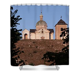 Shower Curtain featuring the photograph Belfry And Chapel Of Saint Sebastian by Michal Boubin