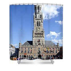 Shower Curtain featuring the photograph Belfry Of Bruges by Pravine Chester