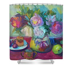 Shower Curtain featuring the painting Belgian Creamer And Sugar by Diane McClary