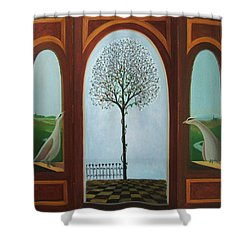 Shower Curtain featuring the painting Belgian Triptyck by Tone Aanderaa