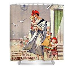 Belgium Ostende Vintage Travel Poster Restored Shower Curtain by Carsten Reisinger