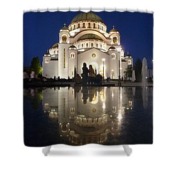 Shower Curtain featuring the photograph Belgrade Serbia Orthodox Cathedral Of Saint Sava  by Danica Radman