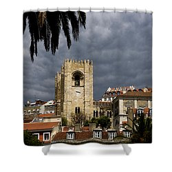 Bell Tower Against Roiling Sky Shower Curtain by Lorraine Devon Wilke
