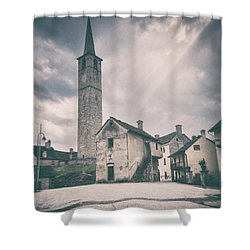 Shower Curtain featuring the photograph Bell Tower In Italian Village by Silvia Ganora