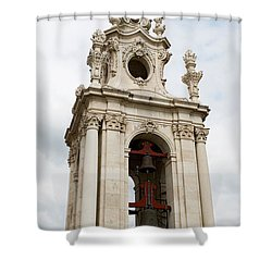 Bell Tower With Red   Shower Curtain by Lorraine Devon Wilke