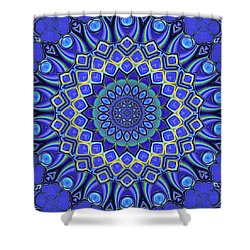 Shower Curtain featuring the digital art Bella - Blue by Wendy J St Christopher