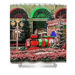 Bellagio Christmas Train Decorations Panorama 2017 Shower Curtain