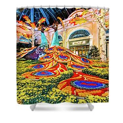 Bellagio Conservatory Fall Peacock Display Side View Wide 2017 Shower Curtain