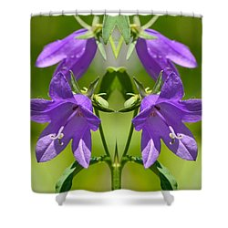 Shower Curtain featuring the digital art Bellflower Visitor Mandala 2  by Lyle Crump