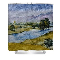 Shower Curtain featuring the painting Bellinger Valley In Spring by Sandra Phryce-Jones