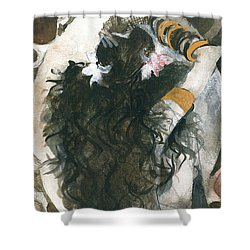 Shower Curtain featuring the painting Belly Dancer And The Mirror by Maya Manolova