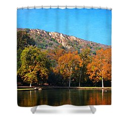 Shower Curtain featuring the photograph Below Puma Ridge by Timothy Bulone