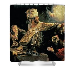 Belshazzars Feast Shower Curtain by Rembrandt