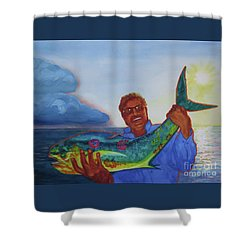 Ben And The Dolphin Fish Shower Curtain by Kathy Braud