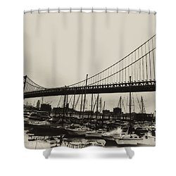 Ben Franklin Bridge From The Marina In Black And White. Shower Curtain by Bill Cannon