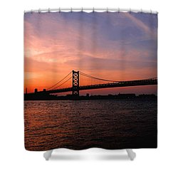 Ben Franklin Bridge Sunset Shower Curtain