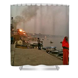 Benares Ganges River At Dusk Shower Curtain