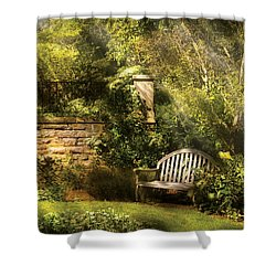 Bench - Edens Edge  Shower Curtain by Mike Savad