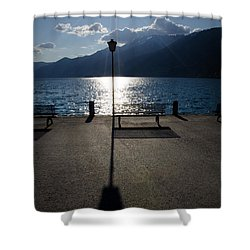 Bench And Street Lamp Shower Curtain