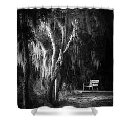 Bench At Sunset In Black And White Shower Curtain