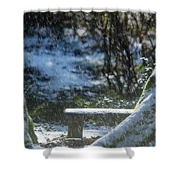 Shower Curtain featuring the photograph Bench In Snow by Rebecca Cozart