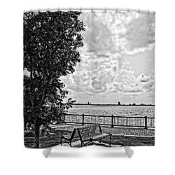 Shower Curtain featuring the photograph Bench Overlooking The Bay by Maggy Marsh