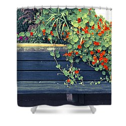 Bench With Flowers Shower Curtain by Michele Cornelius