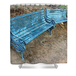 Benches And Blues Shower Curtain by Prakash Ghai