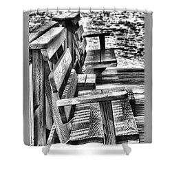 Benches By The Sea Shower Curtain