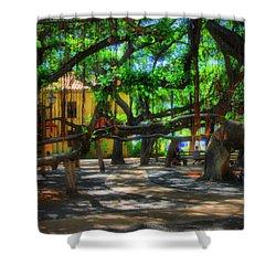 Beneath The Banyan Tree Shower Curtain by DJ Florek
