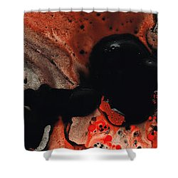Beneath The Fire - Red And Black Painting Art Shower Curtain by Sharon Cummings