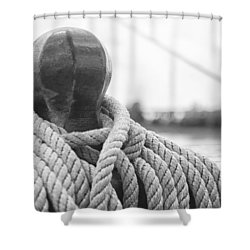 Shower Curtain featuring the photograph Beneath The Sail Coiled Rope by Bob Decker
