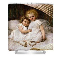 Beneath The Wing Of An Angel Shower Curtain by William Strutt