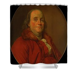 Shower Curtain featuring the painting Benjamin Franklin by Workshop Of Joseph Duplessis
